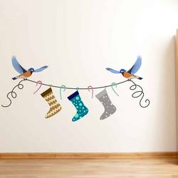 Birds with Stockings - Christmas Wall Decal