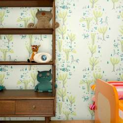 Forest Picnic, Pale Blue and Green - Jim Flora Wall Tiles