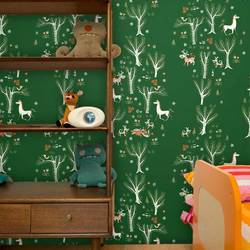 Forest Picnic, Green - Jim Flora Wallpaper Tiles