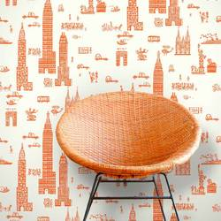 Manhattan, Orange - Jim Flora Wallpaper Tiles