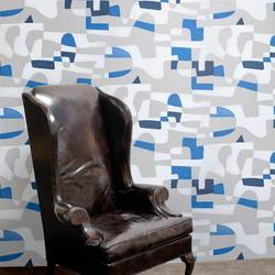 Shape Shifter, Grey Flannel with Blue - Jim Flora Wallpaper Tiles