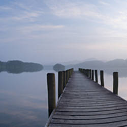 Pier at lake, Coniston Water, English Lake District, Cumbria, England