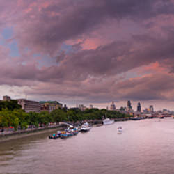 View of Thames River from Waterloo Bridge at dusk, London, England