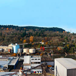 Old industrial complex in the fall, Oregon City, Clackamas County, Oregon, USA