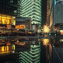 Bahn Tower reflecting inside the Sony Center at Potsdamer Platz, Berlin, Germany