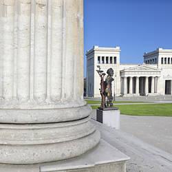 View from Staatliche Antikensammlung (State Collections of Antiquies) to the Propylaeen, Koenigsplatz, Munich, Bavaria, Germany