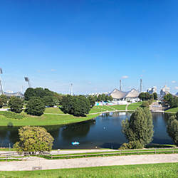 Olympiapark with stadium, hall, television tower and BMW administration, Munich, Bavaria, Germany