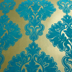Plush Flocked Wallpaper Symphony Damask Gold Leaf/Teal Velvet