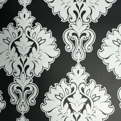 Plush Flocked Wallpaper Symphony Damask Ebony/White Velvet