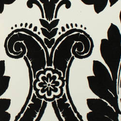 Plush Flocked Wallpaper Heritage Damask White/Black Velvet
