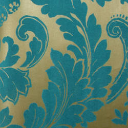 Plush Flocked Wallpaper Heritage Damask Gold Leaf/Teal Velvet