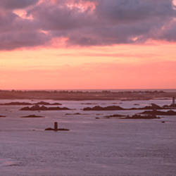 Sunset over the beach, Loguivy, Cotes-d'Armor, Brittany, France