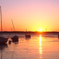 Boats in the river at sunrise, Vilaine, Penestin, Morbihan, Brittany, France