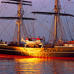 Three-mast clipper Stad Amsterdam at sunset, Douarnenez, Finistere, Brittany, France