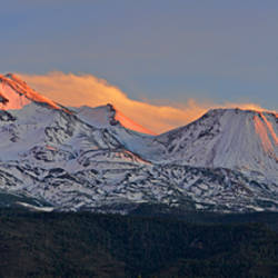 Low angle view of a snow covered mountain, Mt Shasta, Siskiyou County, California, USA