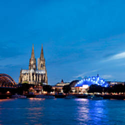 City at dusk, Musical Dome, Cologne Cathedral, Hohenzollern Bridge, Rhine River, Cologne, North Rhine Westphalia, Germany
