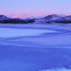 Frozen lake, Loch Tulla, Rannoch Moor, Highlands, Scotland