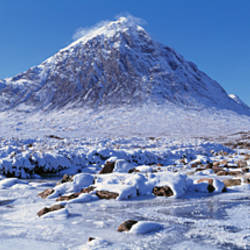 Snow covered landscape, Buachaille Etive Mor, Rannoch Moor, Highlands, Scotland