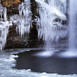 Frozen waterfall, River Falloch, Loch Lomond, Highlands, Scotland