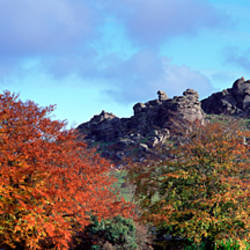 Clouds over a tor, Hound Tor, Dartmoor, Widecombe-In-The-Moor, Devon, England
