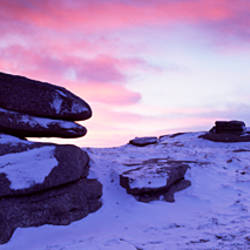 Rock formations on a tor, Belstone Tor, Dartmoor, Devon, England