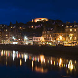 Buildings lit up at night, McCaig's Tower, Oban, Argyll, Argyll And Bute, Scotland