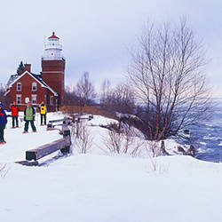 Tourists snowshoeing, Big Bay, Marquette County, Michigan, USA
