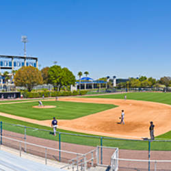 Hillsborough Community College Hawks baseball field with George M. Steinbrenner Field in the background in Tampa, Florida, USA