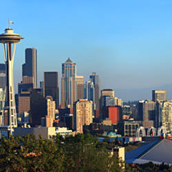 Seattle city skyline with Mt. Rainier in the background, King County, Washington State, USA