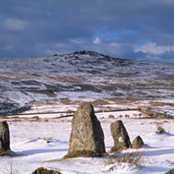 Neolithic stones on a snow covered landscape, Merrivale, Dartmoor, Devon, England