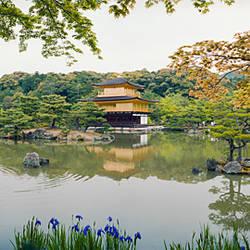 Pond in front of a temple, Kinkaku-Ji Temple, Kyoto City, Kyoto Prefecture, Kinki Region, Honshu, Japan
