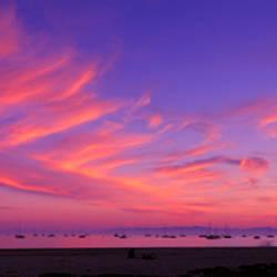 Sea at sunset, Santa Barbara, California, USA