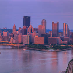 City viewed from the West End at Sunset, Pittsburgh, Allegheny County, Pennsylvania, USA 2009