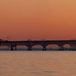 Bridge across a bay at sunset, Chesapeake Bay Bridge, Chesapeake Bay, Maryland, USA