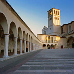 Staircase of a basilica, Basilica of San Francesco d'Assisi, Assisi, Perugia Province, Umbria, Italy