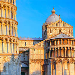 Tower with a cathedral, Pisa Cathedral, Leaning Tower Of Pisa, Piazza Dei Miracoli, Pisa, Tuscany, Italy