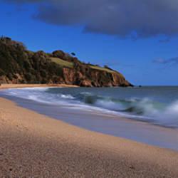 Waves breaking on the coast, Blackpool Sands, South Hams, Devon, England