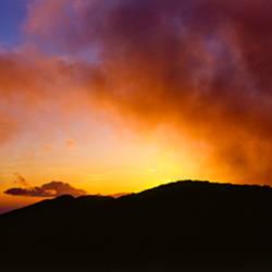Silhouette of mountain at dusk, Santa Barbara, California, USA