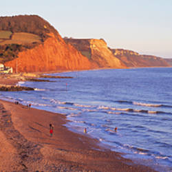 Town with beach at seaside, Sidmouth, Devon, England