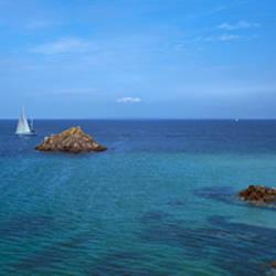 Sailboat in the sea, Houat Island, Morbihan, Brittany, France