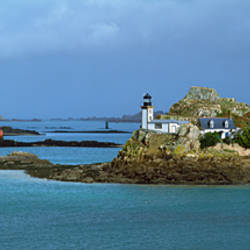 Lighthouse on the coast, Baie De Morlaix, Finistere, Brittany, France