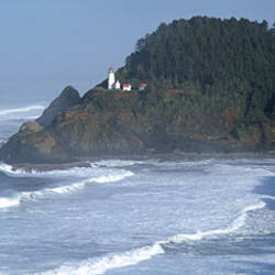 Lighthouse on a hill, Heceta Head Lighthouse, Heceta Head, Lane County, Oregon, USA