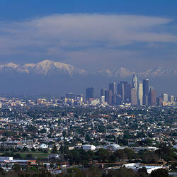 Cityscape with mountains in the background, San Gabriel Mountains, City of Los Angeles, California, USA