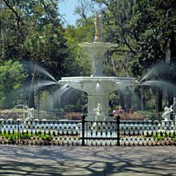 Fountain in a park, Forsyth Park, Savannah, Chatham County, Georgia, USA