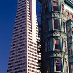 Low angle view of towers, Columbus Tower, Transamerica Pyramid, San Francisco, California, USA