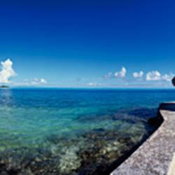 Sunshade on the beach, Bora Bora, French Polynesia