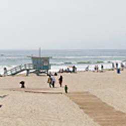 Tourists on the beach, Santa Monica Beach, Santa Monica, California, USA