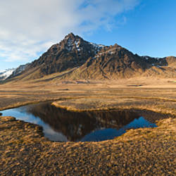 Farm with a mountain in the background, Iceland