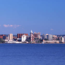 City viewed from Presque Isle State Park, Lake Erie, Erie, Pennsylvania, USA 2010