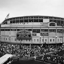 High angle view of tourists outside a baseball stadium at opening night, Wrigley Field, Chicago, Cook County, Illinois, USA